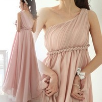 One shoulder chiffon full dress high waist oblique pleated sexy evening dress one-piece dress