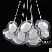 FREE SHIPPING EMS residential lighting 10 head Modern brief fashion led lighting oval glass restaurant lamp pendant light