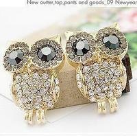 Sunshine jewelry store fashion sparkling rhinestone owl stud earrings E243 (  $10 free shipping )