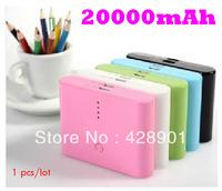 1pcs/lot High Quality 2 Dual USB 20000mAh power bank moblie phone backup powers External Battery pack 20000mAh Free shipping