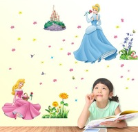 2013 new hot sale fashion Barbie princess decals pvc plastic 3d wall stickers mirror children bedroom free shipping