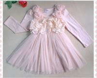 Pink long sleeve pearl rose lace patchwork chiffon girl dress kids princess fashion dresses 2013 autumn 1PCS free shipping