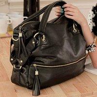 BLACK NEW Fashion Rivet Fringed Big Shoulder Bag