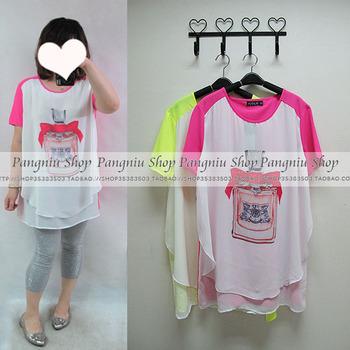 N52 shop plus size clothing mm clothing neon yellow powder perfume bottle design chiffon long shirt