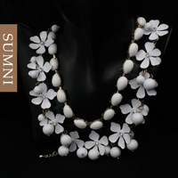 2013 new Fashion brand multi layer flower short choker necklace costume jewelry for women 2pc wholesale free shipping