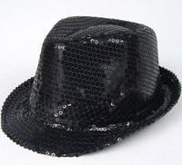Performance cap sequin paillette hat jazz cap paillette small fedoras male women's hat
