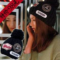 Fashion yarn knitted hat female winter ball cap