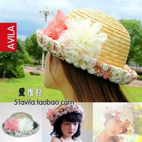 Summer lace hem flower roll-up parent-child strawhat sun-shading women's ccia cap dome fedoras