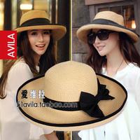 Women's summer bow big along strawhat beach sun hat fedoras