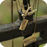 Promotion! Wholesale!  Fashion lady women jewelry accessory vintage bird envelope alloy long necklace SN236