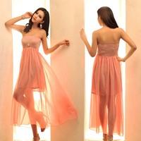 2013 spring and summer bohemia elastic tube top chiffon one-piece dress sexy full dress