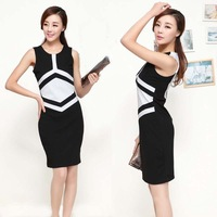 2013 summer plus size basic patchwork slim hip slim one-piece dress sleeveless basic tank dress