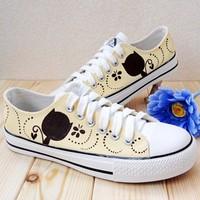 Autumn canvas shoes hand-painted shoes single shoes lacing cat canvas shoes