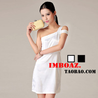 Fashion women's imboaz ol elegant slim oblique satin one shoulder one-piece dress