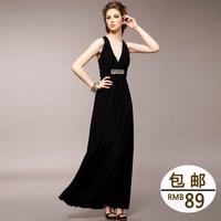 Fashion star imboaz ruslana korshunova sexy elegant V-neck breast racerback sparkling diamond long design dinner formal dress