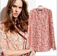 2014 women's blouse sexy chiffon shirt women slim long sleeve flower tops for women ladies blusas camisas femininas