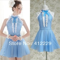 2013 pink doll exclusive blue white bow elegant pleated ruffles patchwork evening party sleeveless knee-length ladies dress