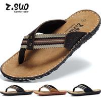 Free Shipping Z.SUO Summer new arrival male flip-flop slippers, genuine leather flip flops Men slippers male beach slipper