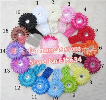 New 20pcs Gerbera Daisy Flower Clips + 20pcs Crochet Headband Kid Baby Girl Headband Headwrap Headbands Headwear Hair Bow Clip