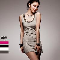 Imboaz 2013 women's top gold chain long design loose plus size basic vest female tank dress