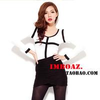 Fashion women's imboaz all-match black lines geometry patchwork basic long-sleeve T-shirt female