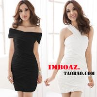 Imboaz draw a variety of sexy slit neckline bodice cross all-match ol dress one-piece dress