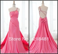 WW-91  2013 Newest Popular Hotsale Handmake Sexy One-shoulder Bows Beads Crystal Open Back   Evening Dress