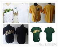 Free shipping white blue green Oakland Athletics blank baseball Jersey logo sewn on Free shipping