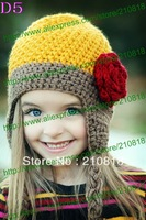 free shipping,150pcs New Kids Flowers crochet Beanie Hat, baby Animal Hat Winter Gift,children handmade beanie hats