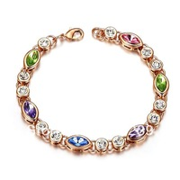YB46 New Arrivals 2013 Hot Item 18K Rose Gold Plated Multicolor Crystal Oval Charm Bracelet Bangle Fashion Women Jewelry