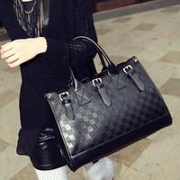 2013 pu handbag checkerboard belt decoration portable shoulder Messenger bag embossed carving small squares tide bag 5b28