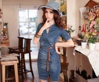 summer elegant fashion slim denim one-piece dress belt fashion popular vintage dress