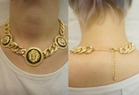 Mix minimum order $16.fashion lion head pendant chunky chain gold womens necklace wholesale,heavy feeling