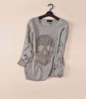 13 zv skull diamond decoration cashmere sweater women outerwear loose knitted basic marten velvet sweater