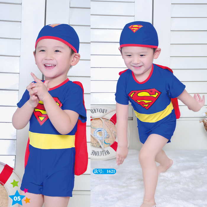 2013 child swimwear male child swimwear one piece male big boy super man swimwear hooded(China (Mainland))