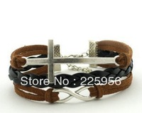 12PCS/LOT!Free Shipping!Antique Silver Black Leather Cross Infiity Bracelet Unique European Style Men Costume Jewelry C-108