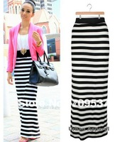 WOMEN STRIPE MAXI SKIRT HIGH WAISTED PENCIL STRETCH JERSEY CASUAL A-LINE BOHO[240422]