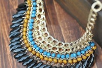 Gold Nice Vintage Fashion Lots layered Beads Tassel Bib Choker Necklace