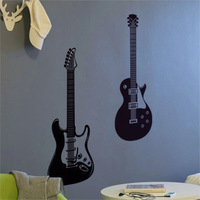 Guitar background wall stickers decoration stickers music colored drawing wallpaper