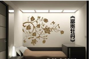 Rich peony tv sand colored drawing wall stickers(China (Mainland))