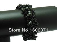 carnelian black agate ONYX gem stone chip bead bracelet bangle stretched WBB013