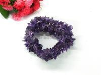 knitting amethyst stone wide chip beads bracelet 1pc WBB003