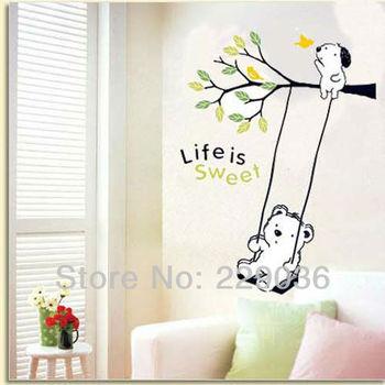 Free Shipping 33*60CM Cartoon Winnie On The Tree Swing Wall Sticker Kids Nursery Room DIY Art Decor Lovely Decals