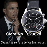Obama with JORG GRAY steel men's watch large dial waterproof fashion leather mens watch JG6500 Gifts required