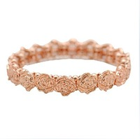 Rose gold flower bracelet new items gifts promotion 2013 women stretchy B1-151