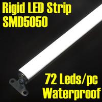 DHL free shipping + 60pcs/lot 100cm 72 leds 12V 5050 SMD Rigid LED Strip Aluminum PC Bar Light Waterproof  Warm or White Color