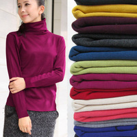 2013 spring women's mercerized cotton turtleneck heap turtleneck sweater loose long-sleeve basic sweater