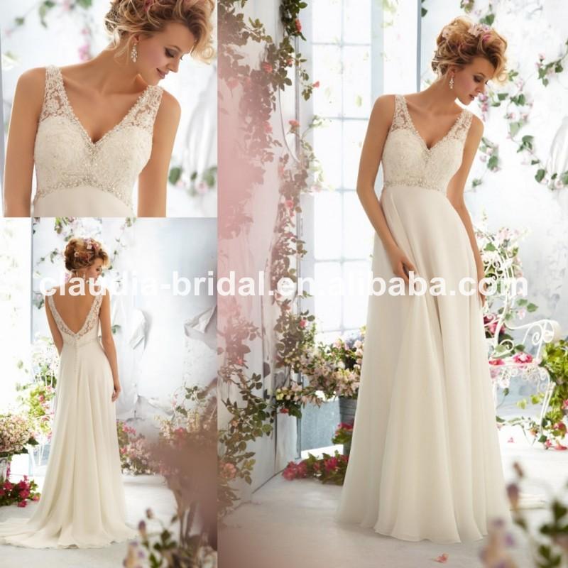 Wedding Dresses For A Beach Ceremony : Line floor chiffon wedding dresses beach ceremony order