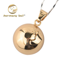2013 Fashion Design Footprints of Times Wholesale 1pc 20mm 925 Silver Harmony ball Pendant JY011 with lovely golden footprints
