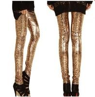 2014 New Fashion Snake Printed Leggings Women Golden Skinny Fitless Legging Stretch Pants PLUS SIZE KD-310